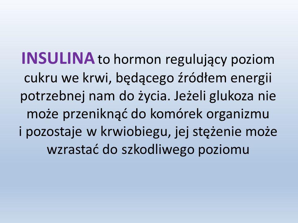 INSULINA to hormon regulujący poziom cukru we krwi, będącego źródłem energii potrzebnej nam do życia.
