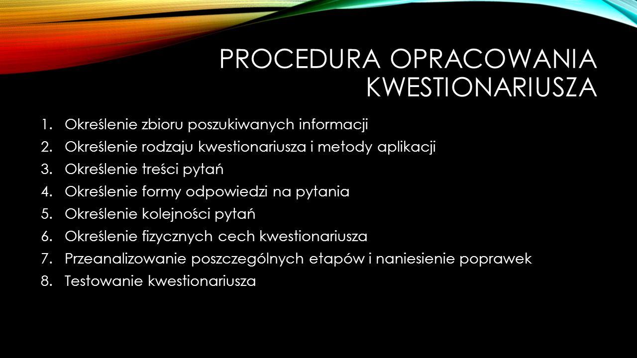 Procedura opracowania kwestionariusza