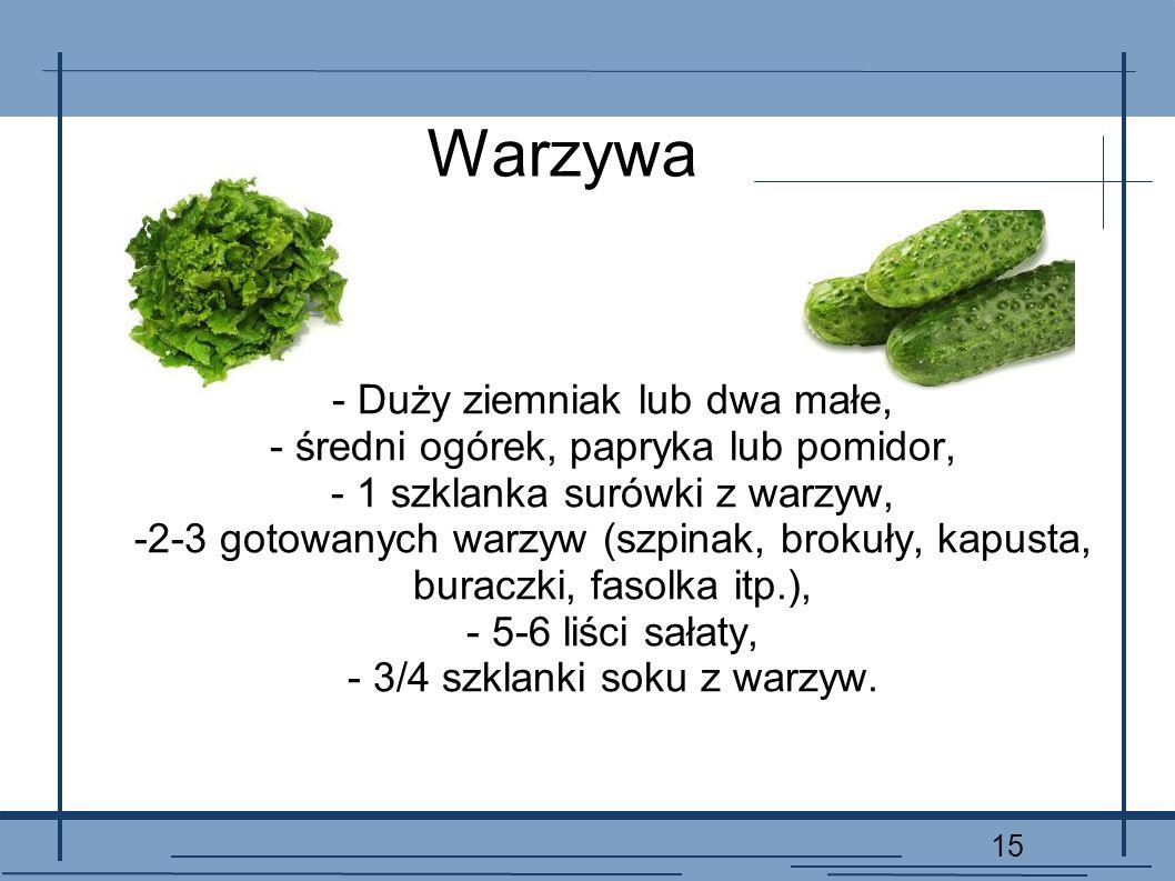 Warzywa - Duży ziemniak lub dwa małe,