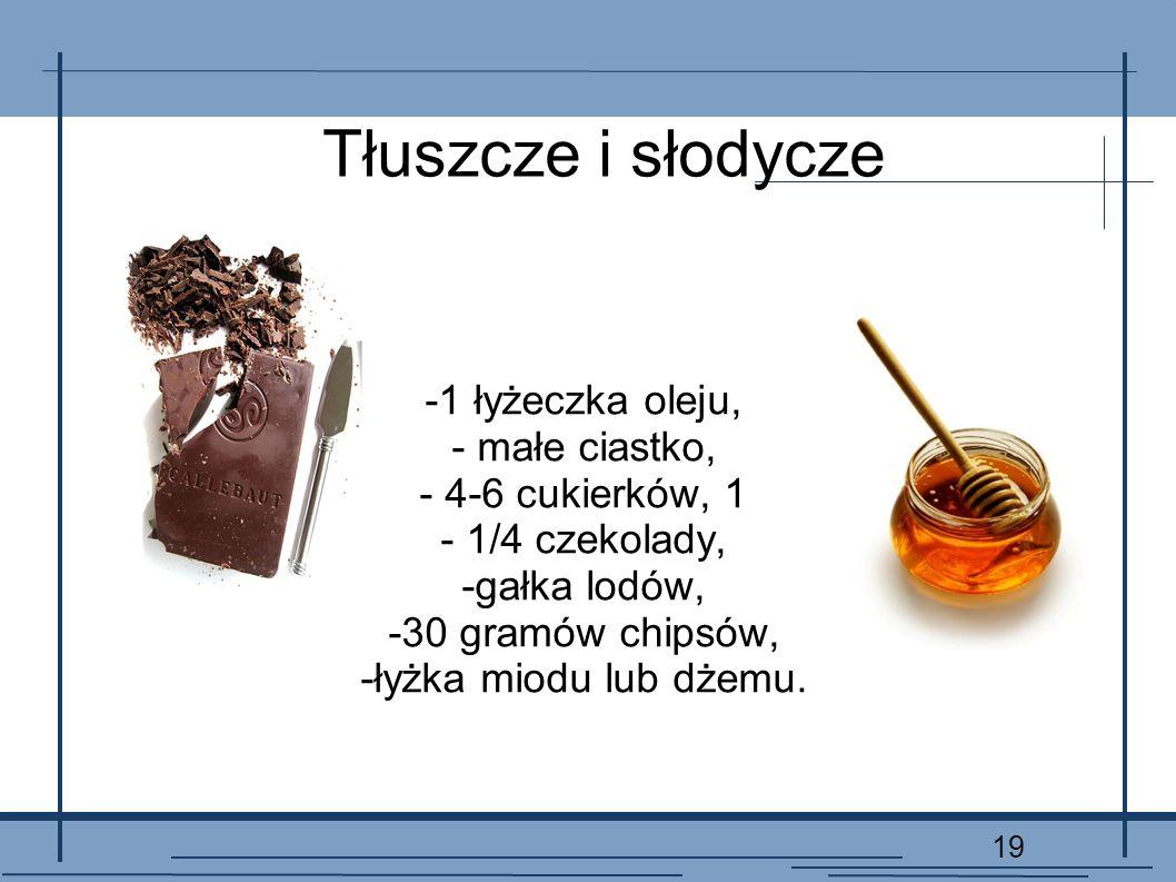 Tłuszcze i słodycze -1 łyżeczka oleju, - małe ciastko,