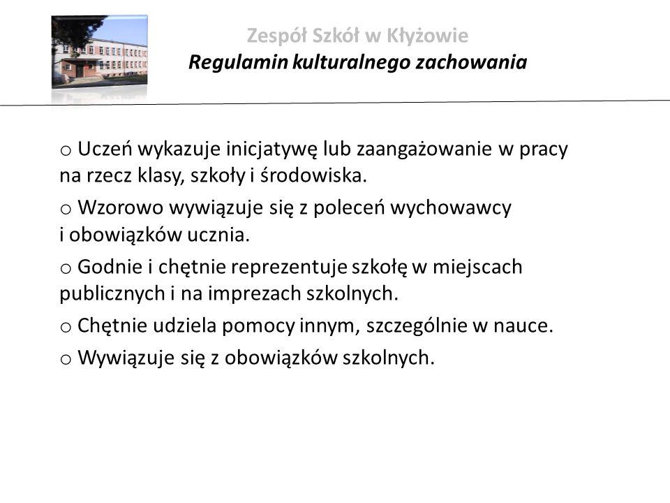 Zespół Szkół w Kłyżowie Regulamin kulturalnego zachowania