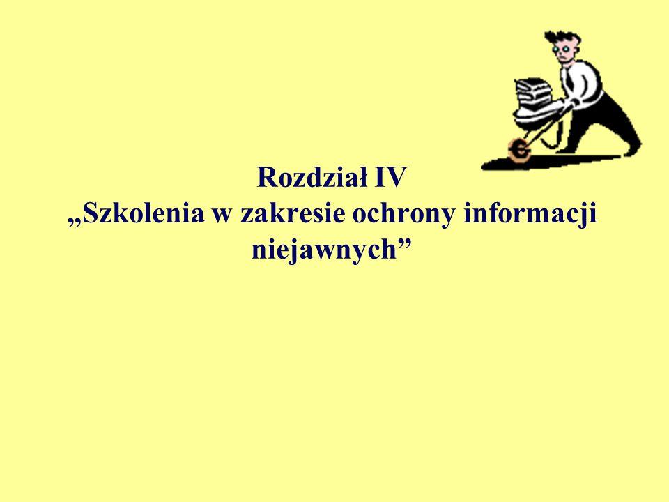 """Rozdział IV """"Szkolenia w zakresie ochrony informacji niejawnych"""