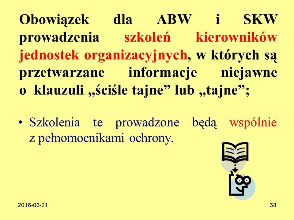 """Obowiązek dla ABW i SKW prowadzenia szkoleń kierowników jednostek organizacyjnych, w których są przetwarzane informacje niejawne o klauzuli """"ściśle tajne lub """"tajne ;"""