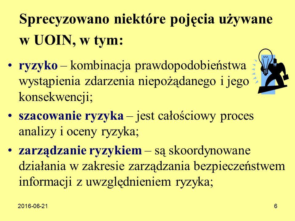 Sprecyzowano niektóre pojęcia używane w UOIN, w tym: