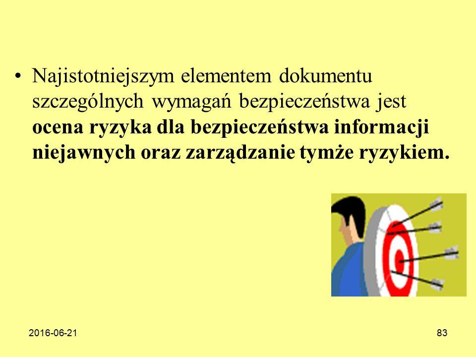 Najistotniejszym elementem dokumentu szczególnych wymagań bezpieczeństwa jest ocena ryzyka dla bezpieczeństwa informacji niejawnych oraz zarządzanie tymże ryzykiem.