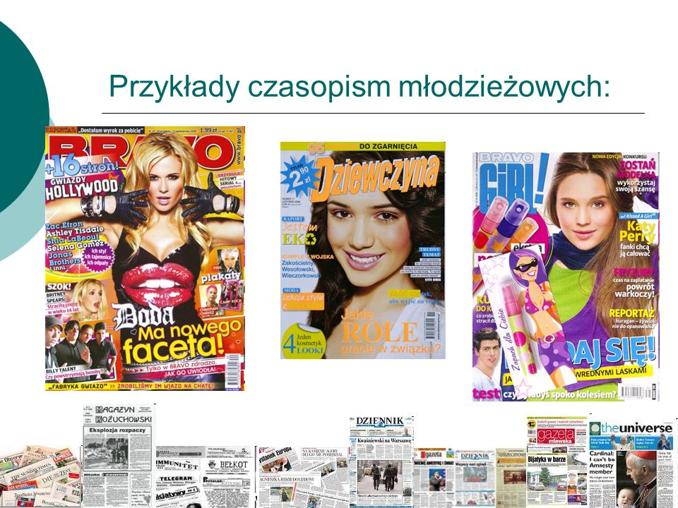 Przykłady czasopism młodzieżowych: