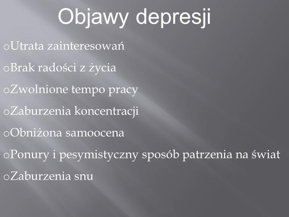 Objawy depresji Utrata zainteresowań Brak radości z życia
