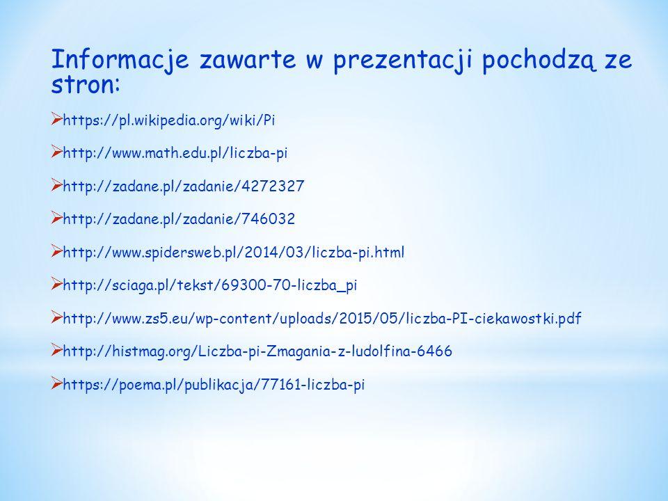 Informacje zawarte w prezentacji pochodzą ze stron: