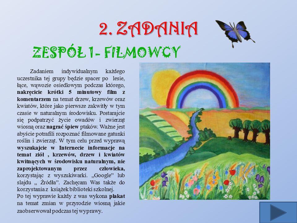 2. ZADANIA ZESPÓŁ 1- FILMOWCY