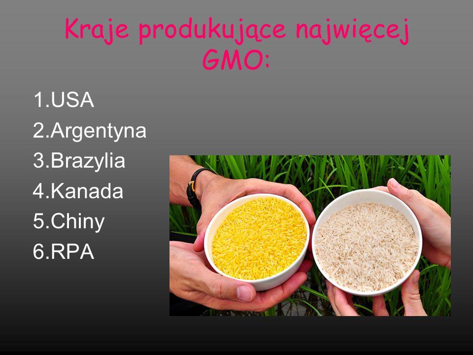 Kraje produkujące najwięcej GMO: