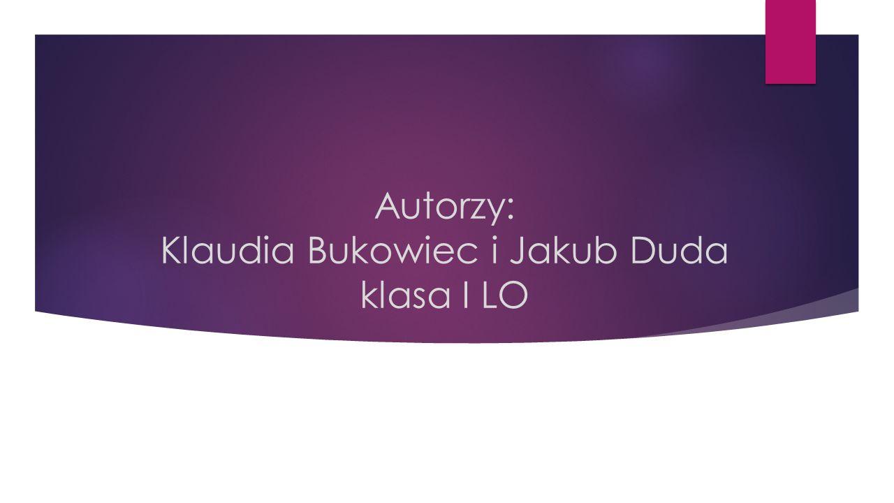Autorzy: Klaudia Bukowiec i Jakub Duda klasa I LO