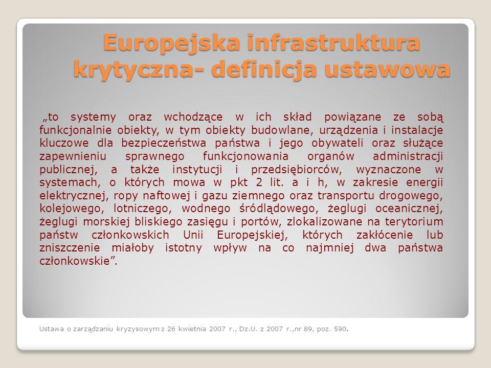 Europejska infrastruktura krytyczna- definicja ustawowa