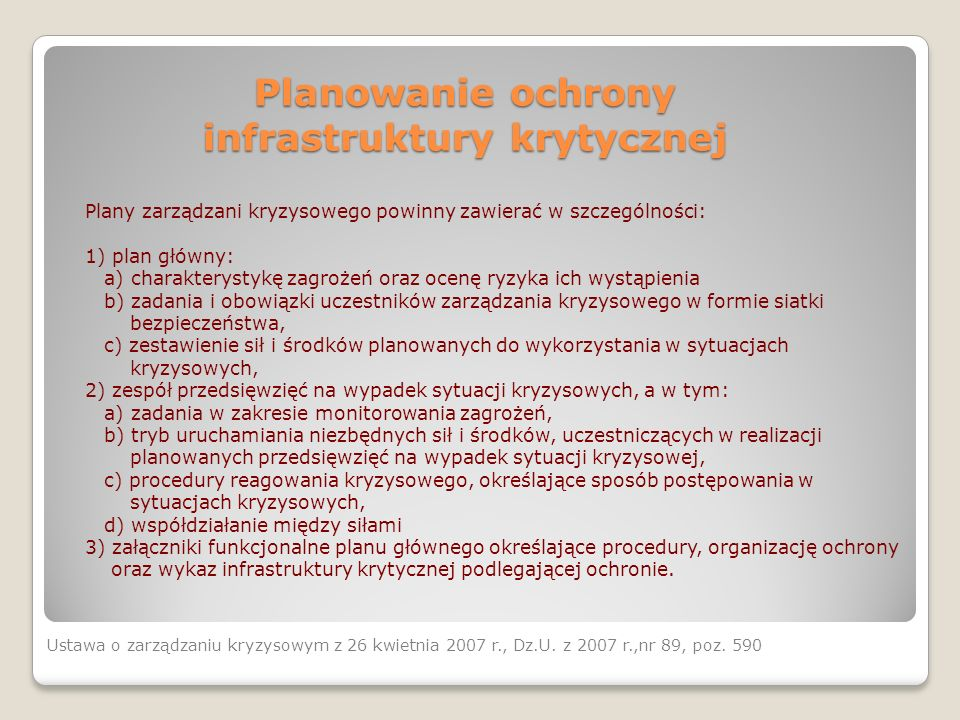 Planowanie ochrony infrastruktury krytycznej