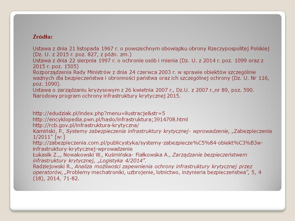 Źródła: Ustawa z dnia 21 listopada 1967 r. o powszechnym obowiązku obrony Rzeczypospolitej Polskiej (Dz. U. z 2015 r. poz. 827, z późn. zm.)
