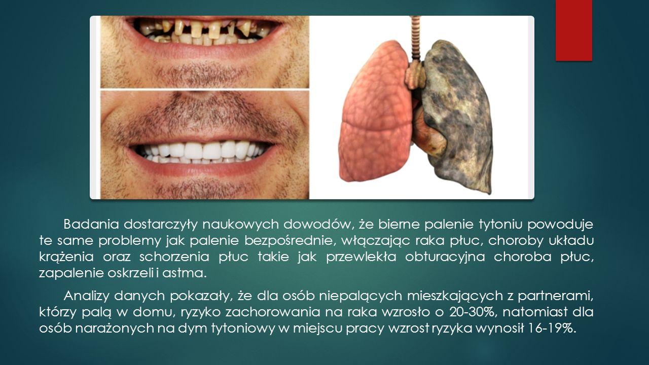 Badania dostarczyły naukowych dowodów, że bierne palenie tytoniu powoduje te same problemy jak palenie bezpośrednie, włączając raka płuc, choroby układu krążenia oraz schorzenia płuc takie jak przewlekła obturacyjna choroba płuc, zapalenie oskrzeli i astma.