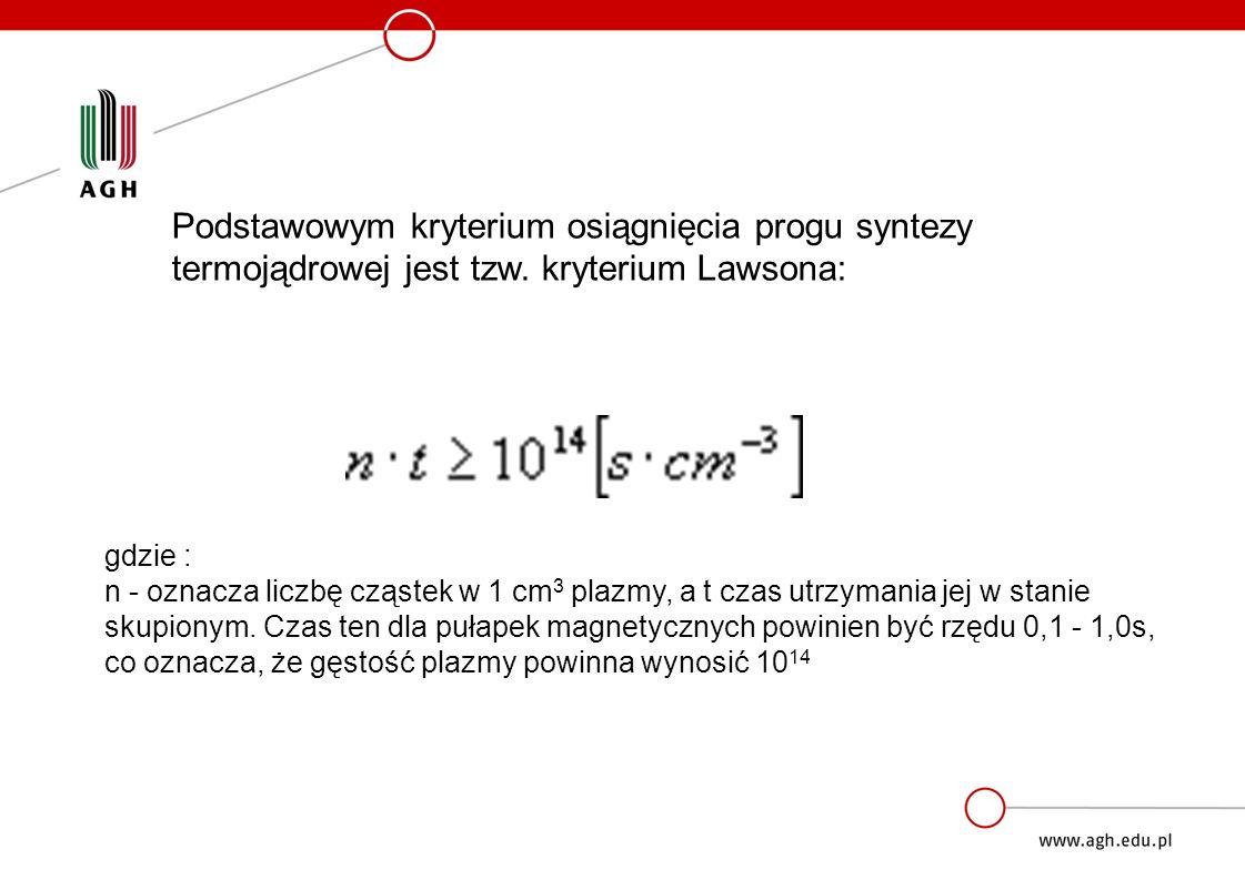 Podstawowym kryterium osiągnięcia progu syntezy termojądrowej jest tzw