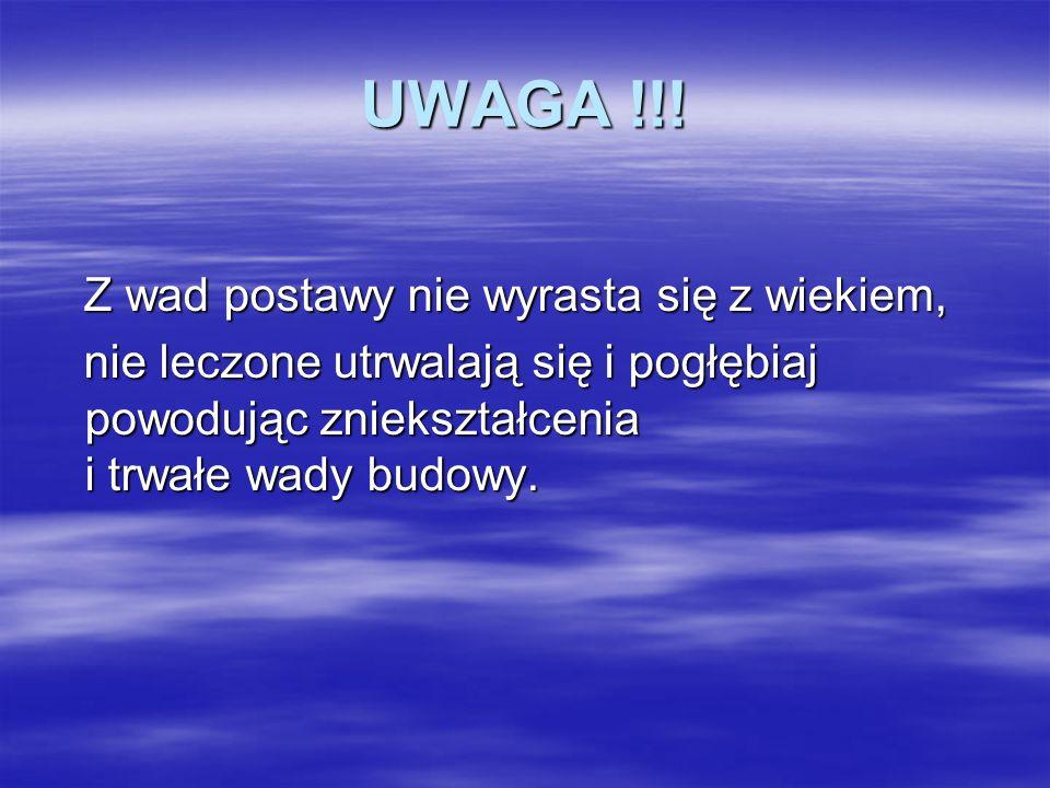 UWAGA !!! Z wad postawy nie wyrasta się z wiekiem,