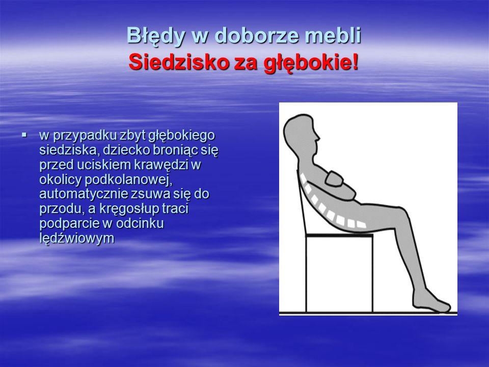 Błędy w doborze mebli Siedzisko za głębokie!