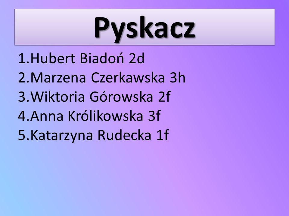 Pyskacz Hubert Biadoń 2d Marzena Czerkawska 3h Wiktoria Górowska 2f