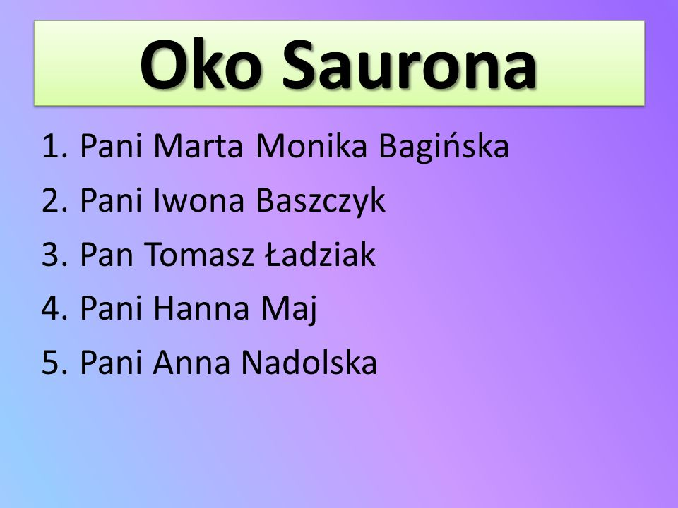 Oko Saurona Pani Marta Monika Bagińska Pani Iwona Baszczyk