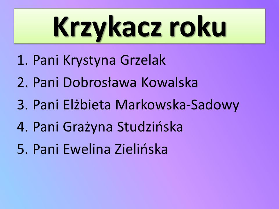 Krzykacz roku Pani Krystyna Grzelak Pani Dobrosława Kowalska