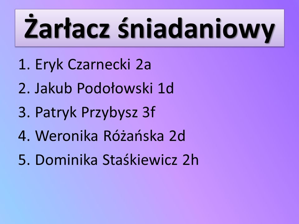 Żarłacz śniadaniowy Eryk Czarnecki 2a Jakub Podołowski 1d