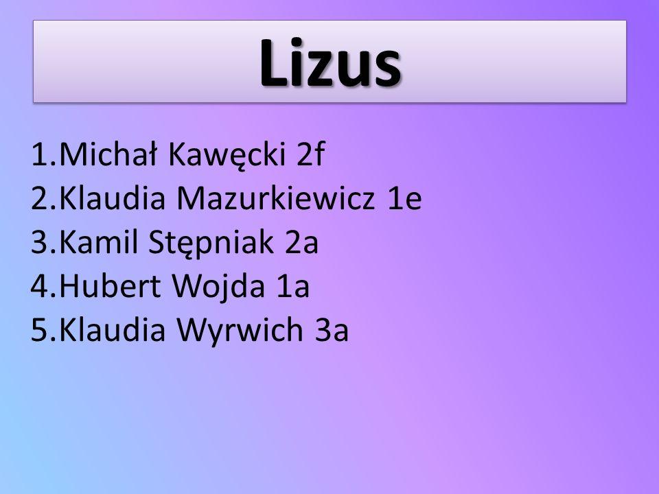 Lizus Michał Kawęcki 2f Klaudia Mazurkiewicz 1e Kamil Stępniak 2a