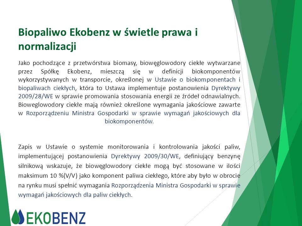 Biopaliwo Ekobenz w świetle prawa i normalizacji