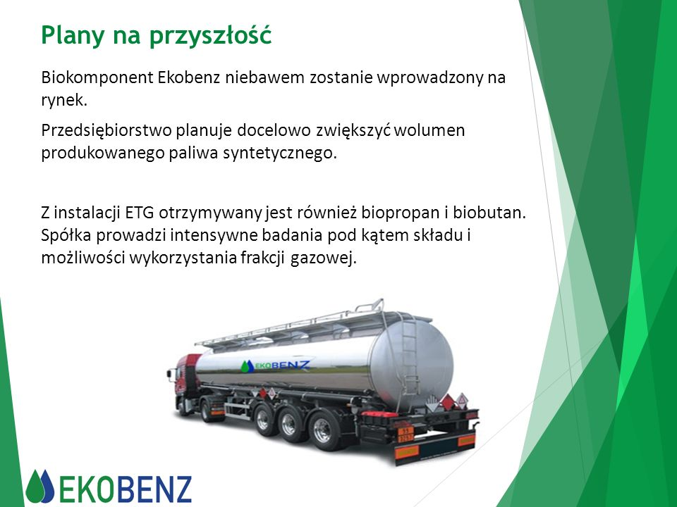 Plany na przyszłość Biokomponent Ekobenz niebawem zostanie wprowadzony na rynek.