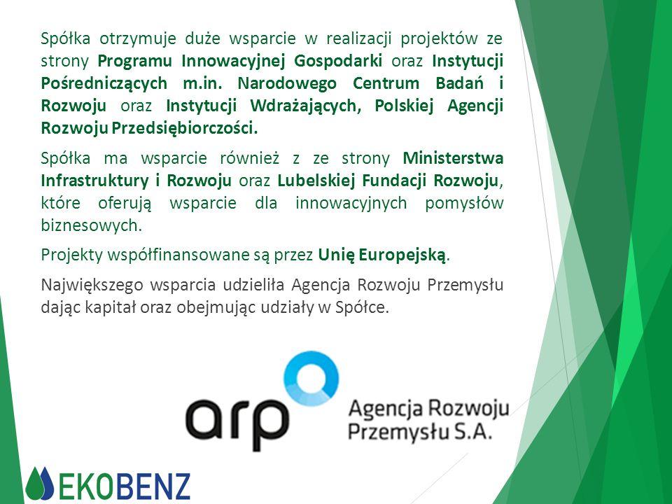 Spółka otrzymuje duże wsparcie w realizacji projektów ze strony Programu Innowacyjnej Gospodarki oraz Instytucji Pośredniczących m.in. Narodowego Centrum Badań i Rozwoju oraz Instytucji Wdrażających, Polskiej Agencji Rozwoju Przedsiębiorczości.