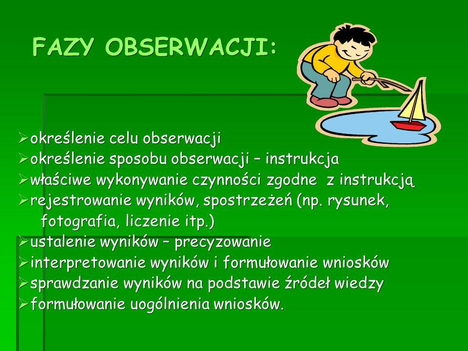 FAZY OBSERWACJI: określenie celu obserwacji