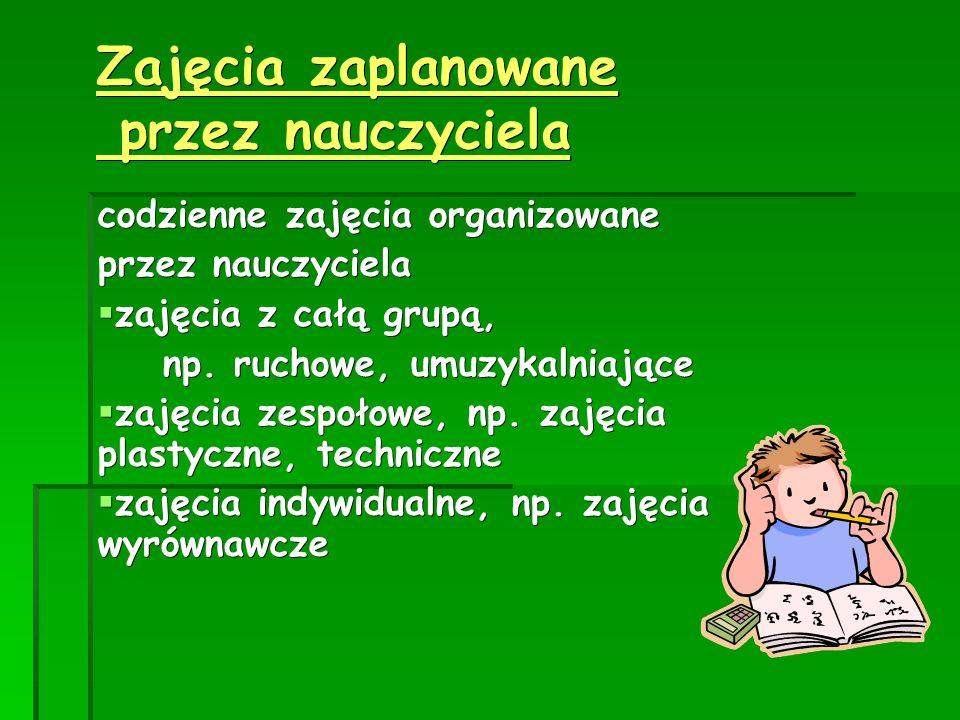 Zajęcia zaplanowane przez nauczyciela
