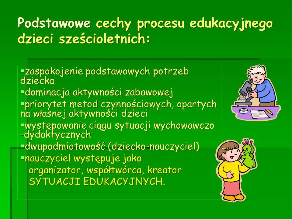 Podstawowe cechy procesu edukacyjnego dzieci sześcioletnich: