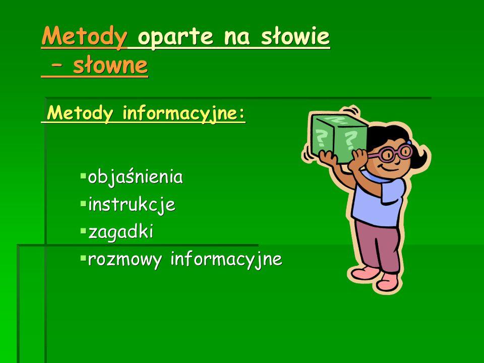 Metody oparte na słowie – słowne Metody informacyjne: