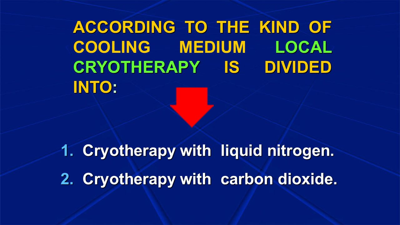ACCORDING TO THE KIND OF COOLING MEDIUM LOCAL CRYOTHERAPY IS DIVIDED INTO: