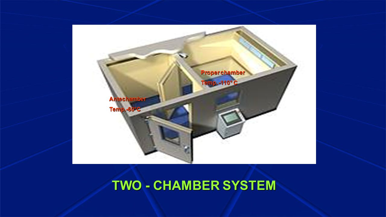 TWO - CHAMBER SYSTEM Proper chamber Temp. -110° C Antechamber