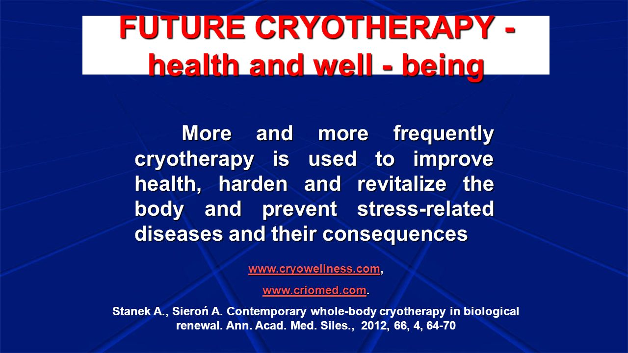 FUTURE CRYOTHERAPY - health and well - being