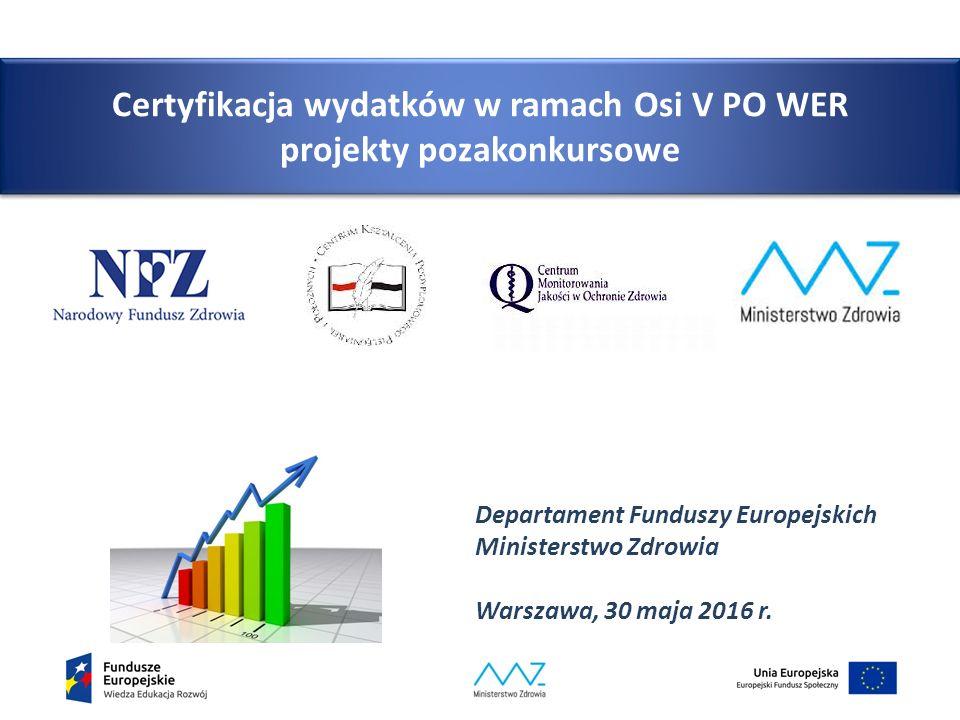 Certyfikacja wydatków w ramach Osi V PO WER projekty pozakonkursowe
