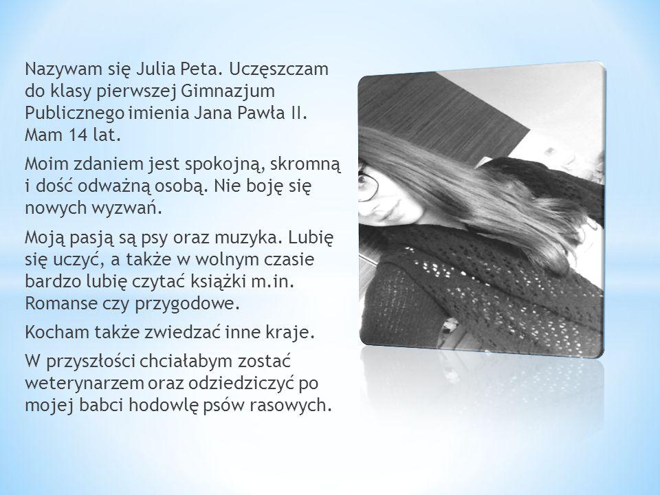 Nazywam się Julia Peta. Uczęszczam do klasy pierwszej Gimnazjum Publicznego imienia Jana Pawła II. Mam 14 lat.