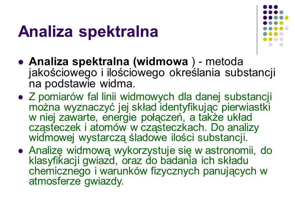 Analiza spektralna Analiza spektralna (widmowa ) - metoda jakościowego i ilościowego określania substancji na podstawie widma.