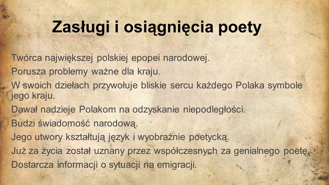 Zasługi i osiągnięcia poety