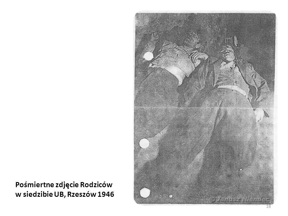 Pośmiertne zdjęcie Rodziców w siedzibie UB, Rzeszów 1946
