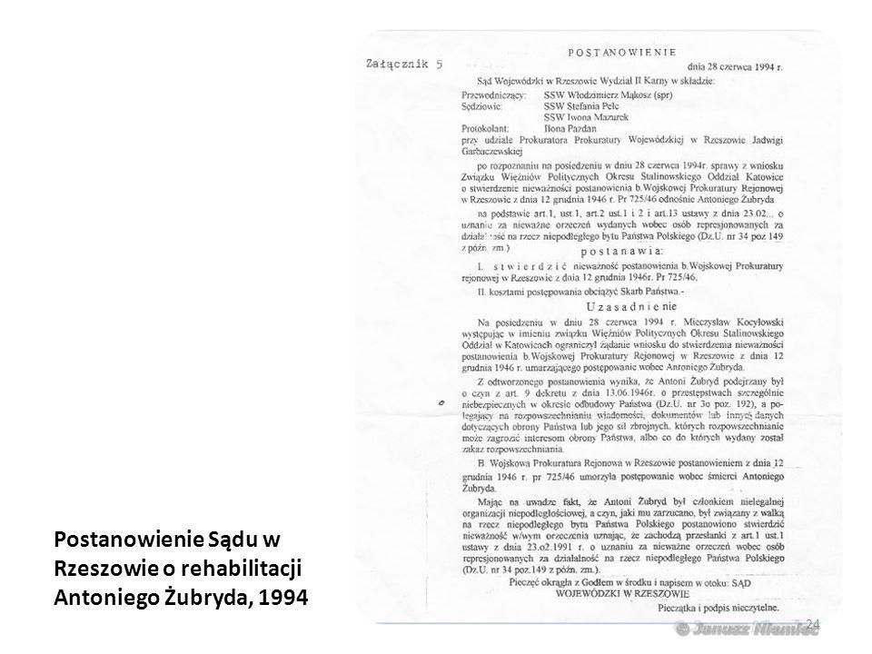 Postanowienie Sądu w Rzeszowie o rehabilitacji Antoniego Żubryda, 1994