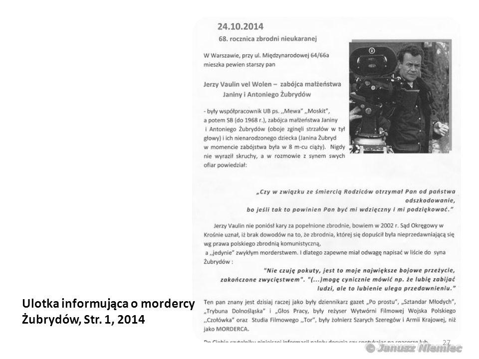 Ulotka informująca o mordercy Żubrydów, Str. 1, 2014