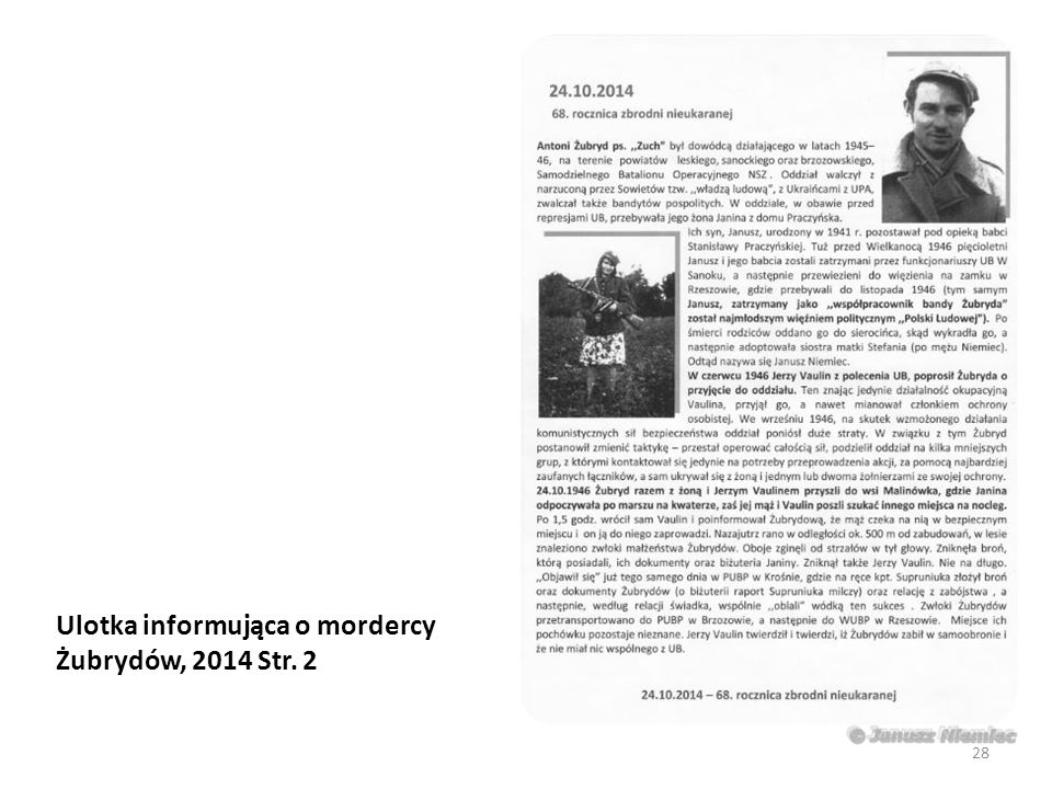 Ulotka informująca o mordercy