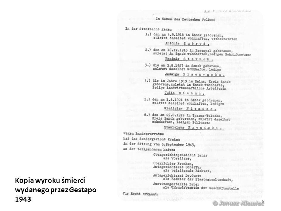 Kopia wyroku śmierci wydanego przez Gestapo