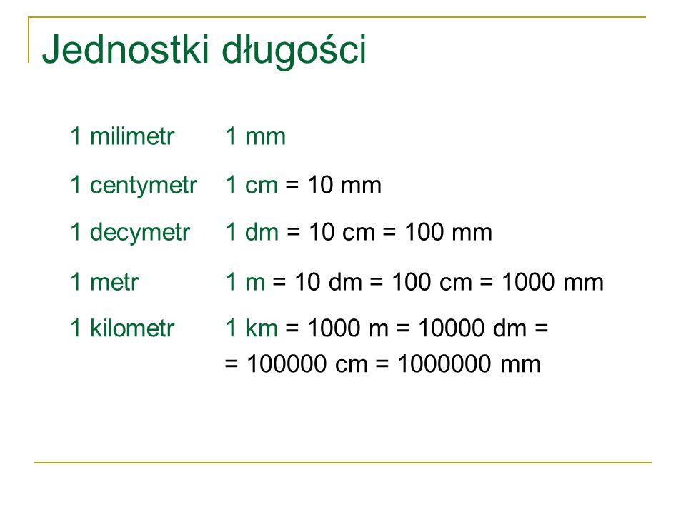Jednostki długości 1 milimetr 1 mm 1 centymetr 1 cm = 10 mm 1 decymetr