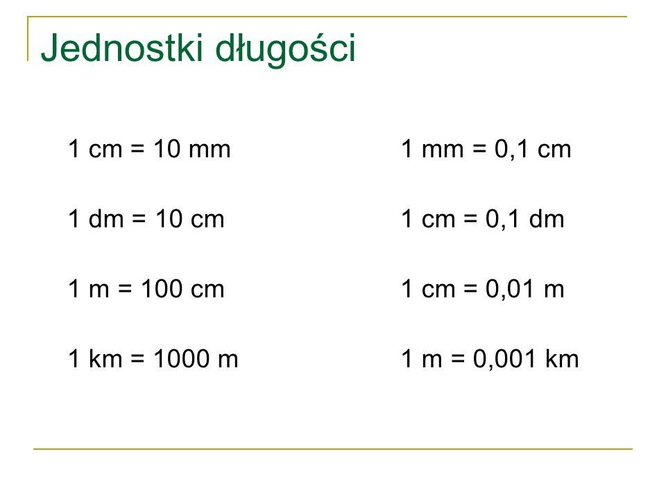 Jednostki długości 1 cm = 10 mm 1 mm = 0,1 cm