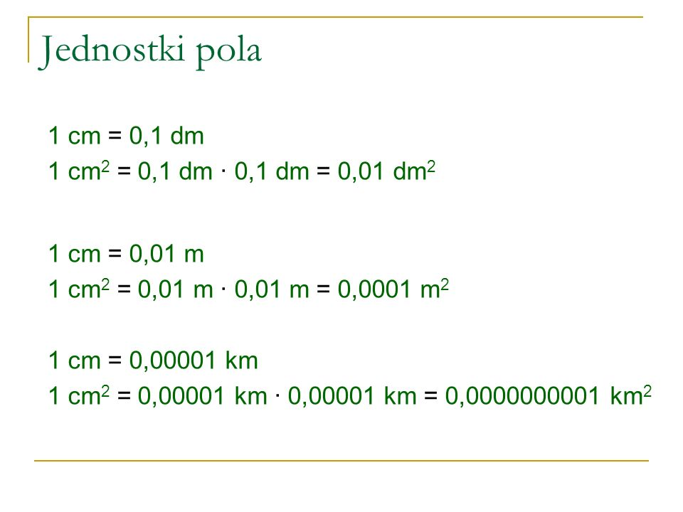 Jednostki pola 1 cm = 0,1 dm 1 cm2 = 0,1 dm ∙ 0,1 dm = 0,01 dm2