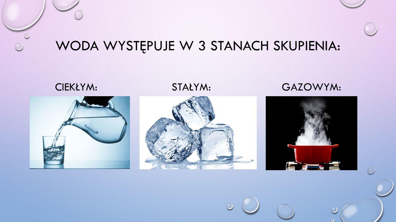 Woda występuje w 3 stanach skupienia: